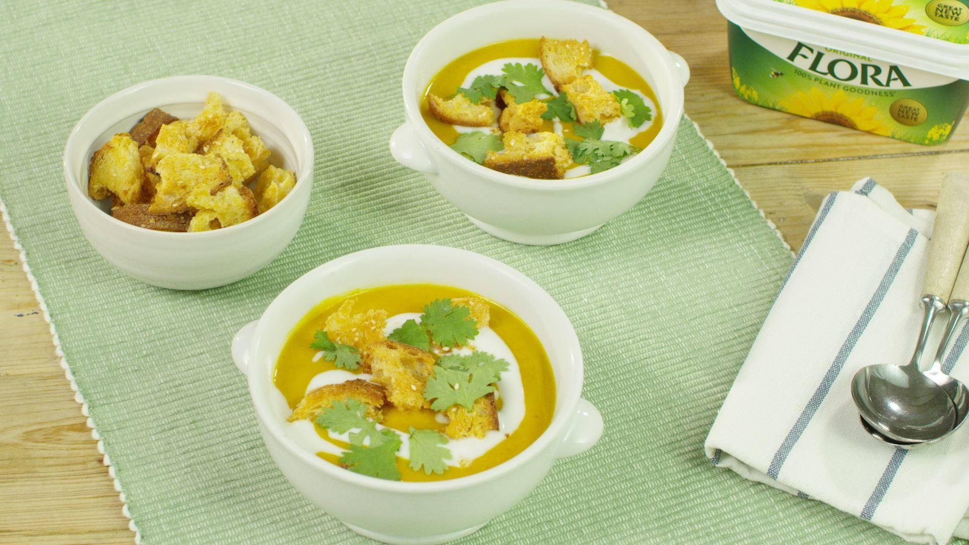 recipe image Spiced Carrot and Parsnip Soup with Croutons