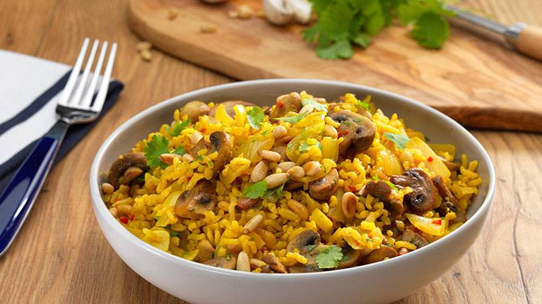 recipe image Nutty Mushroom and Coriander Pilaf