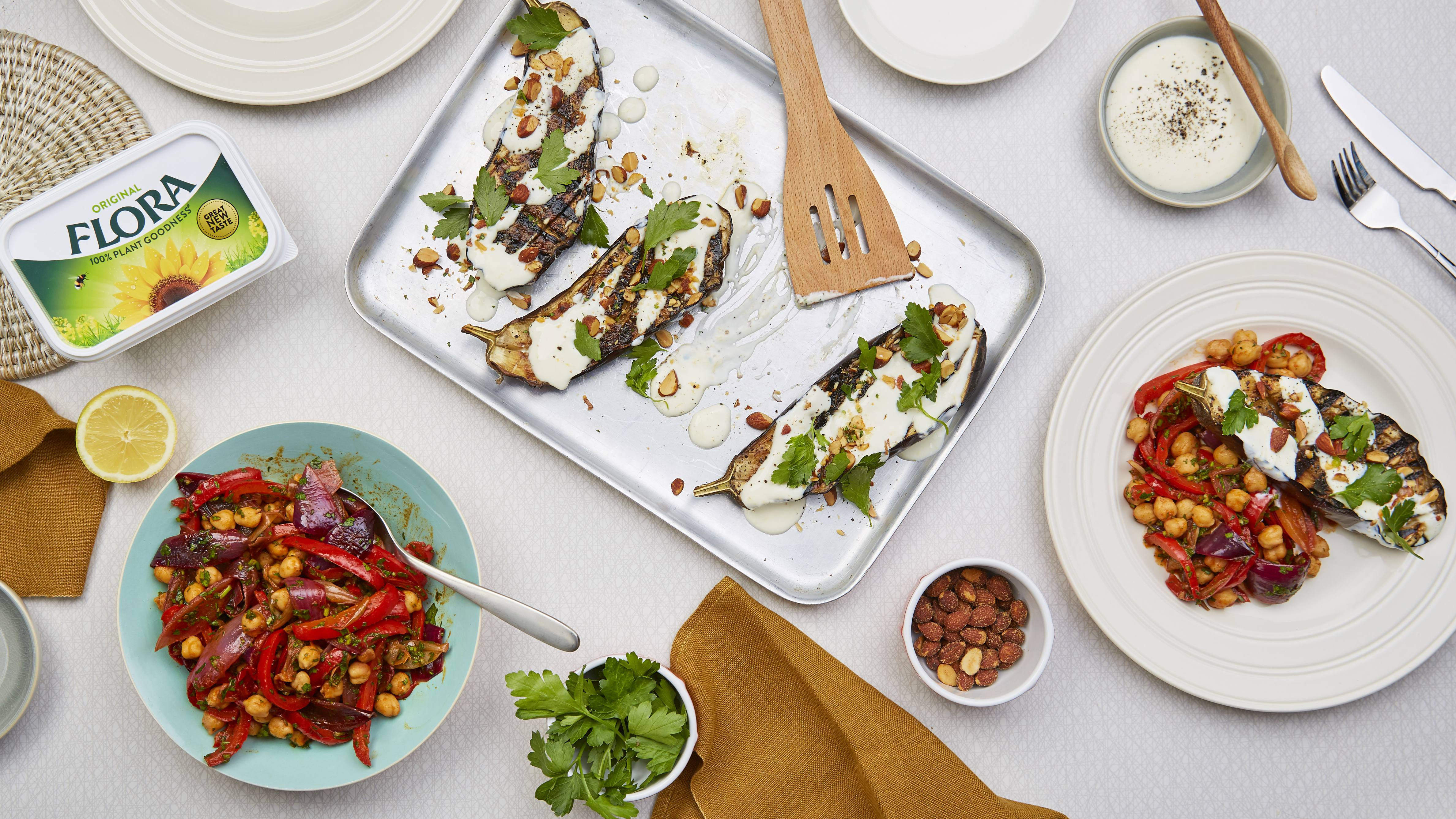 recipe image Charred Aubergine with Red Pepper Chickpea salad