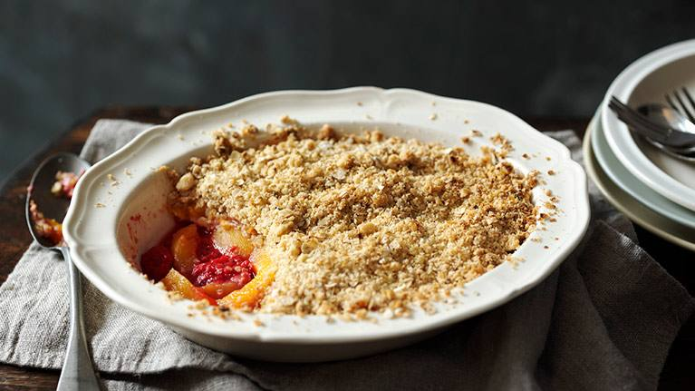 recipe image Peach and Raspberry Crumble