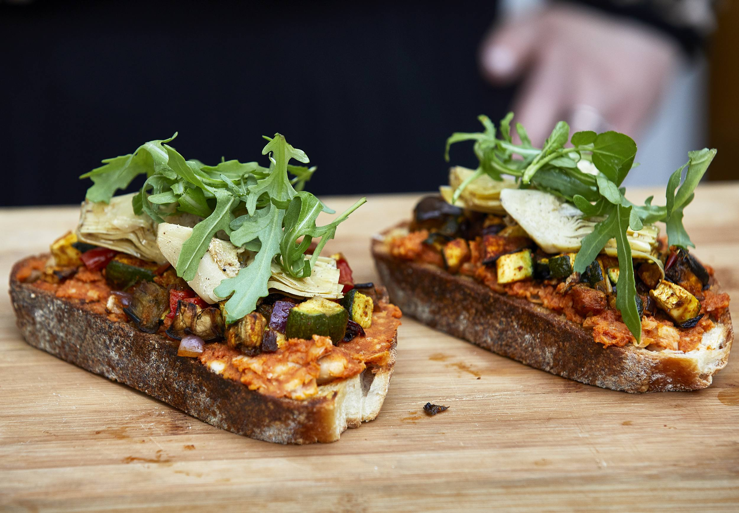 recipe image Roasted Veg and Artichoke Open Sandwich with Sun dried Tomato and Butterbean Smash