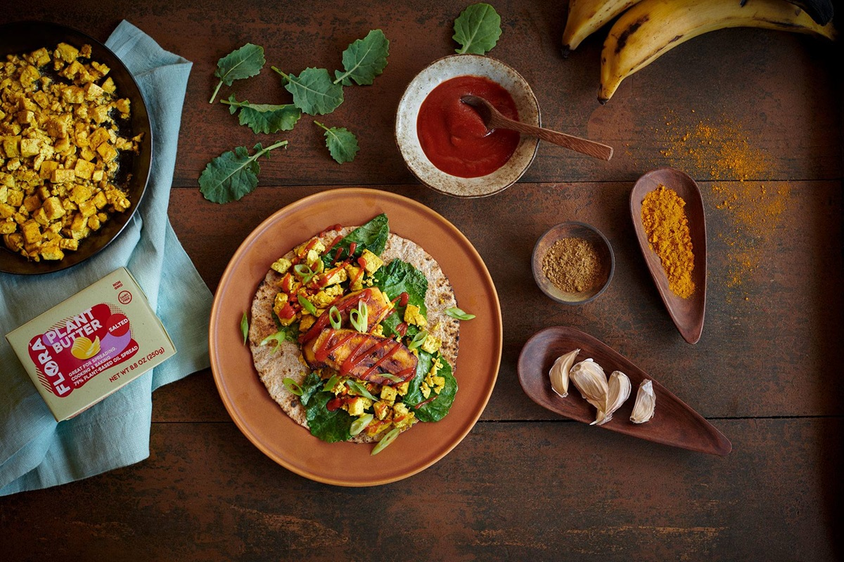 recipe image Tofu, Kale and Plantain Breakfast Wrap