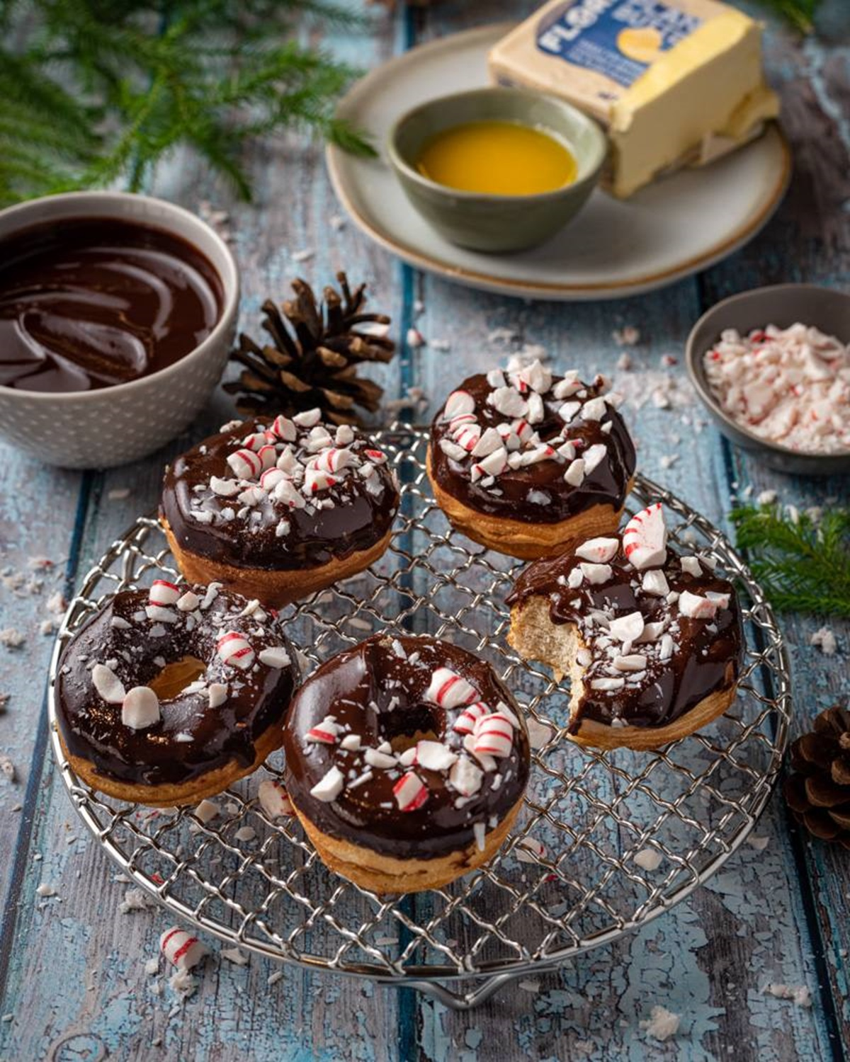 recipe image Chocolate Peppermint Air Fryer Donuts