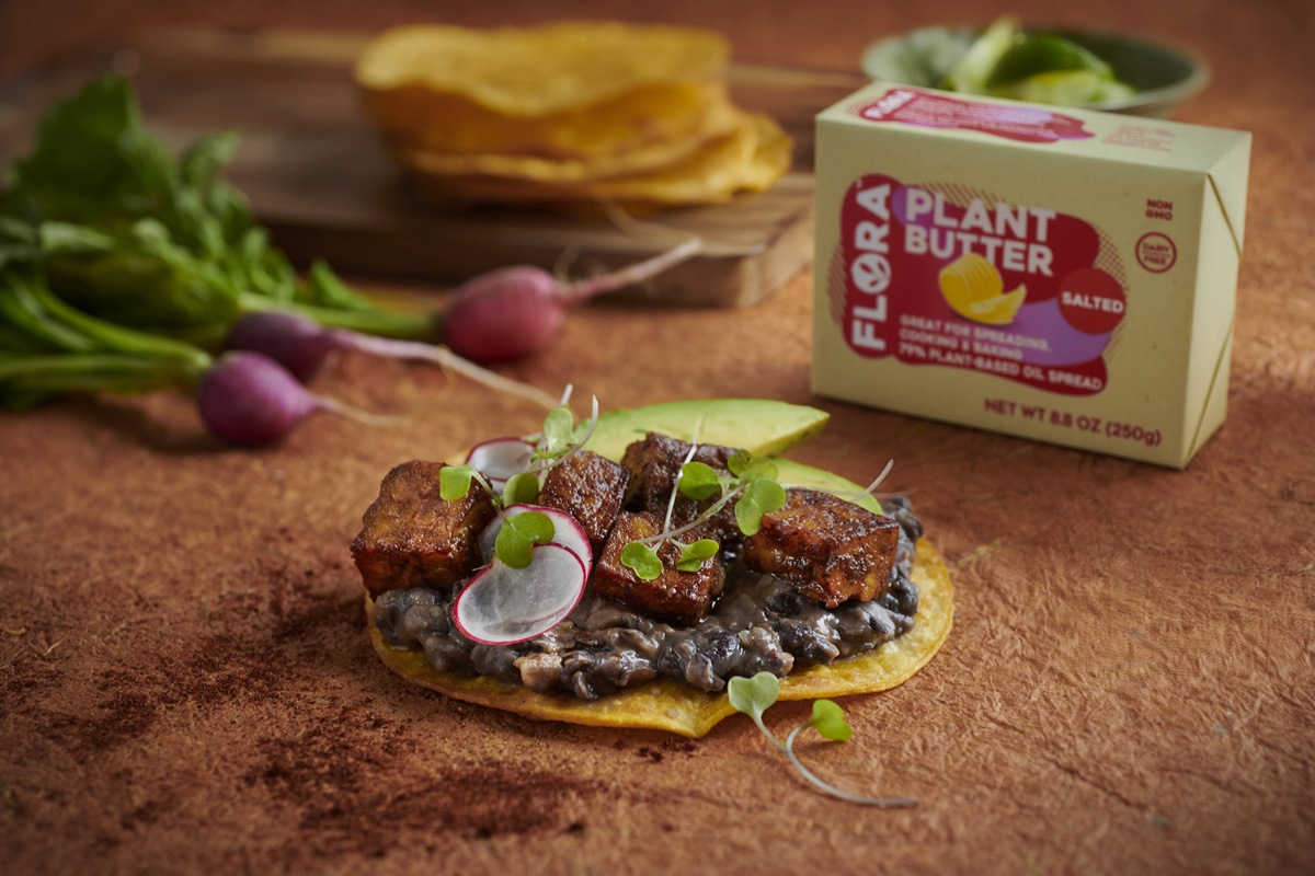 Refried Black Beans Tostada With Tempeh Avocado And Shaved Radish